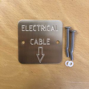 Engraved Brass Markers Labels – Brass Electrical Cable Down Arrow – Quality Australian made Kerbmarkers, Tags & Plates since 1998