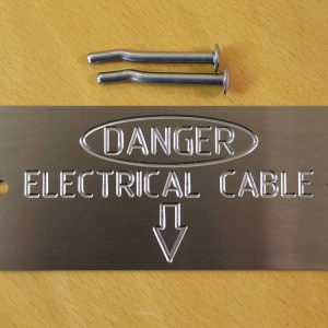 Stainless Steel Labels - Danger electrical Cable with Arrow down