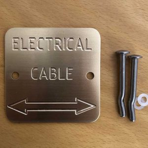 Brass Electrical Cable labels & markers - Engraved with double arrow – Quality Australian made Kerbmarkers, Tags & Plates since 1998