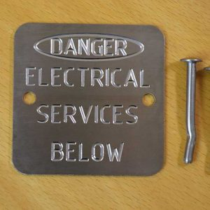 Stainless Steel Engraved Labels – Danger Electrical Services Below - Quality Marking plates.