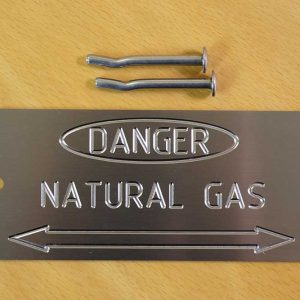 Natural Gas Pipe Labels / Markers - Stainless plates for easy identification
