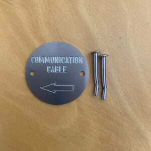 Communication Cable Stainless Steel Engraved plate – Communication Cable with Directional Arrow – 75mm dia - Quality Australian Made Kerbmarkers, Tags & Plates since 1998 - CC75-1, Communication Cable w: single left arrow